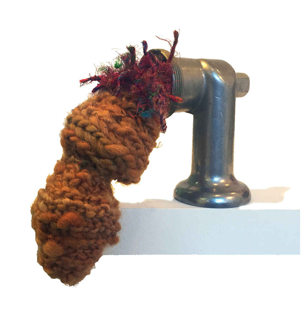 meat 8 x 4 x 9 inches.  meat grinder attachment, yarn, upcycled grocery bags (stuffing), 2016