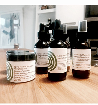 Just some of the products available on this website under Spiral Herbal Remedies. Also available weekends at Artists and Fleas Williamsburg.  Come visit to sample some herbal remedies!