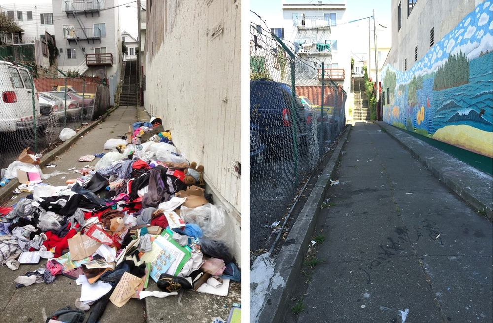 Kenny Alley, before and after Phase 1 of the Beautification Project.