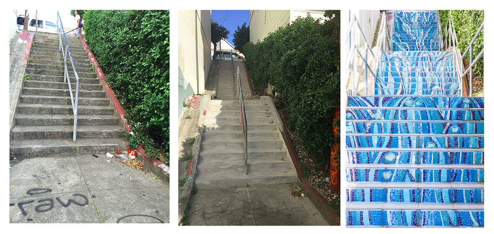 Kenny Alley Staircase, before, during and after revitalization