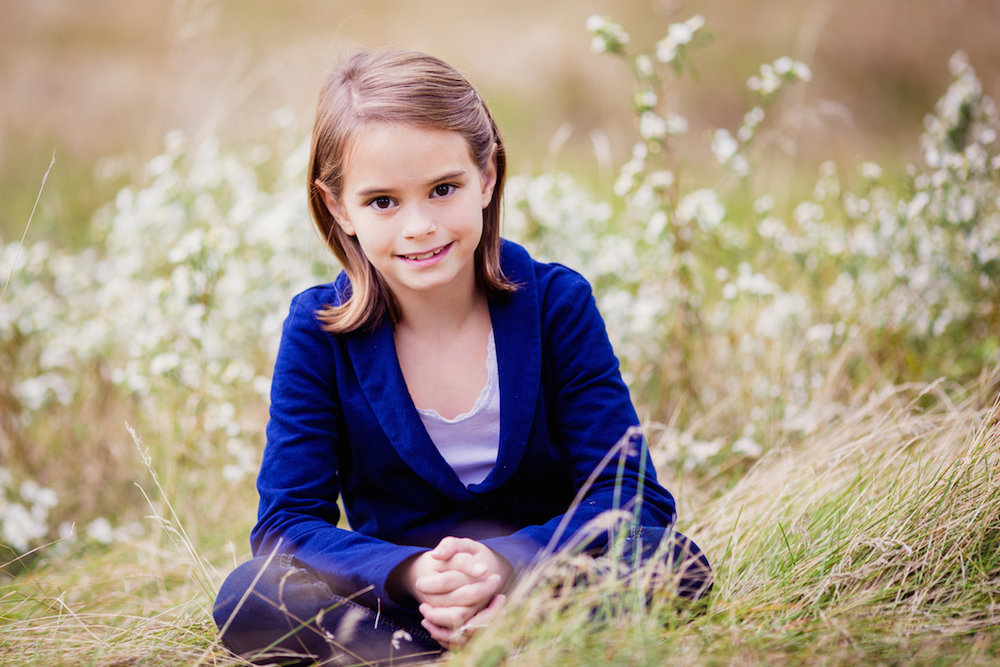 ten year old sister with blue jacket | cleveland kids portraits