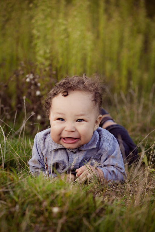 4 month old baby boy on grass | cleveland OH portraits