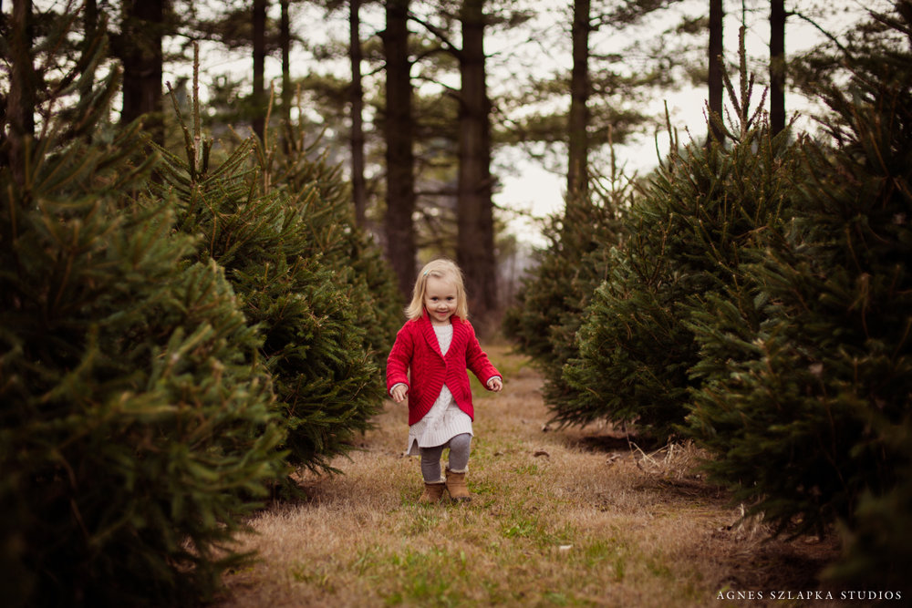 little girl running amongst trees | cleveland christmas photography