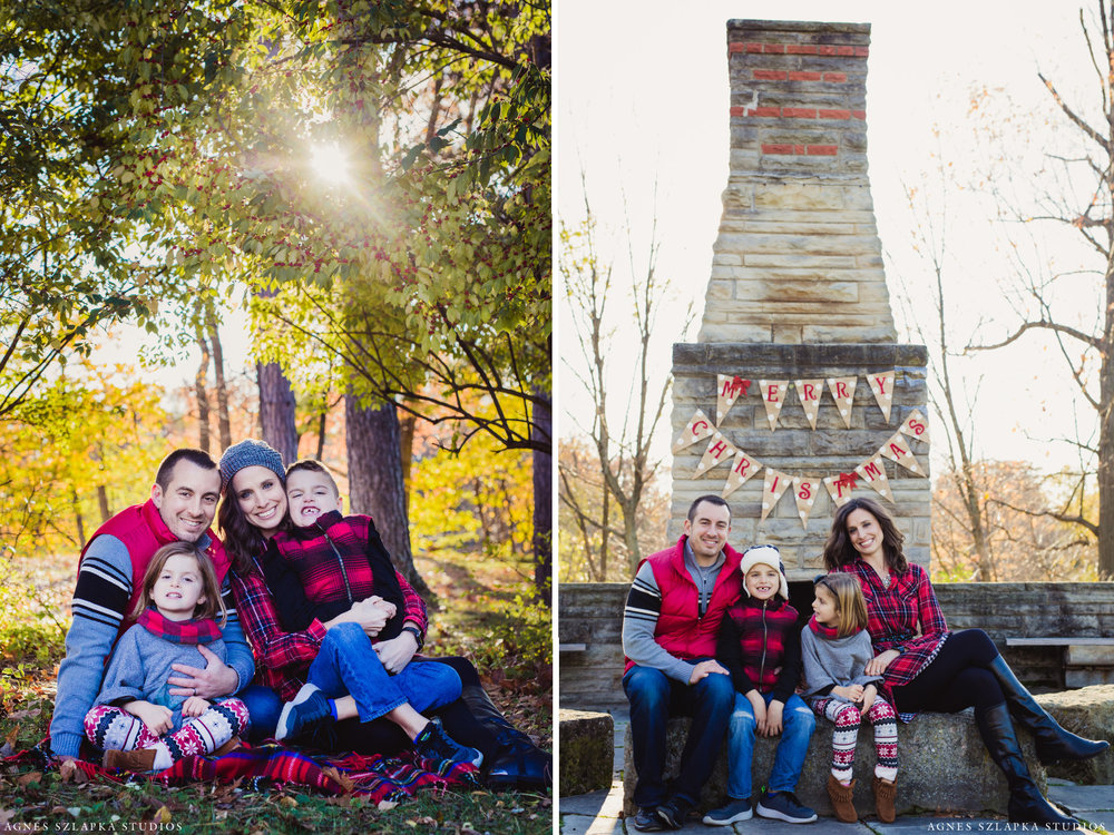 family of four sitting in front of fireplace | cleveland portrait photography