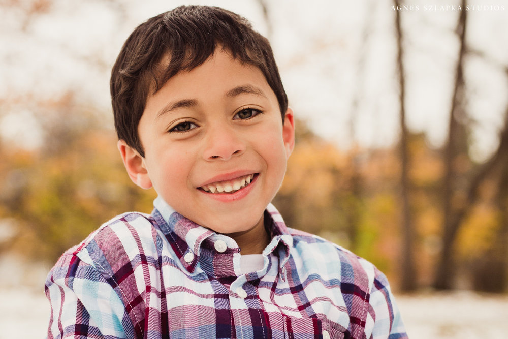 five year old boy wearing plaid button-up shirt | cleveland, ohio kids portrait photographer