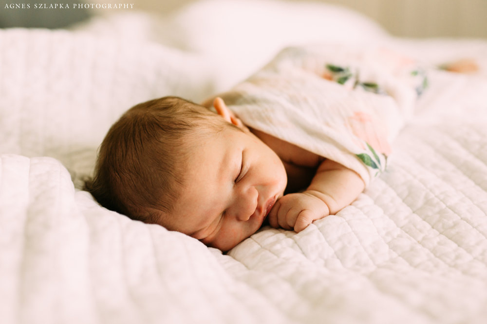 infant baby girl sleeping | cleveland, ohio newborn lifestyle photographer