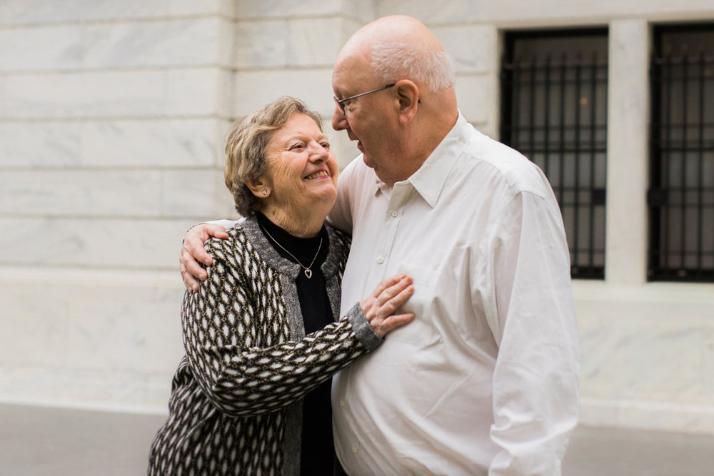 80 year old man and woman laughing together | cleveland, ohio family photographer