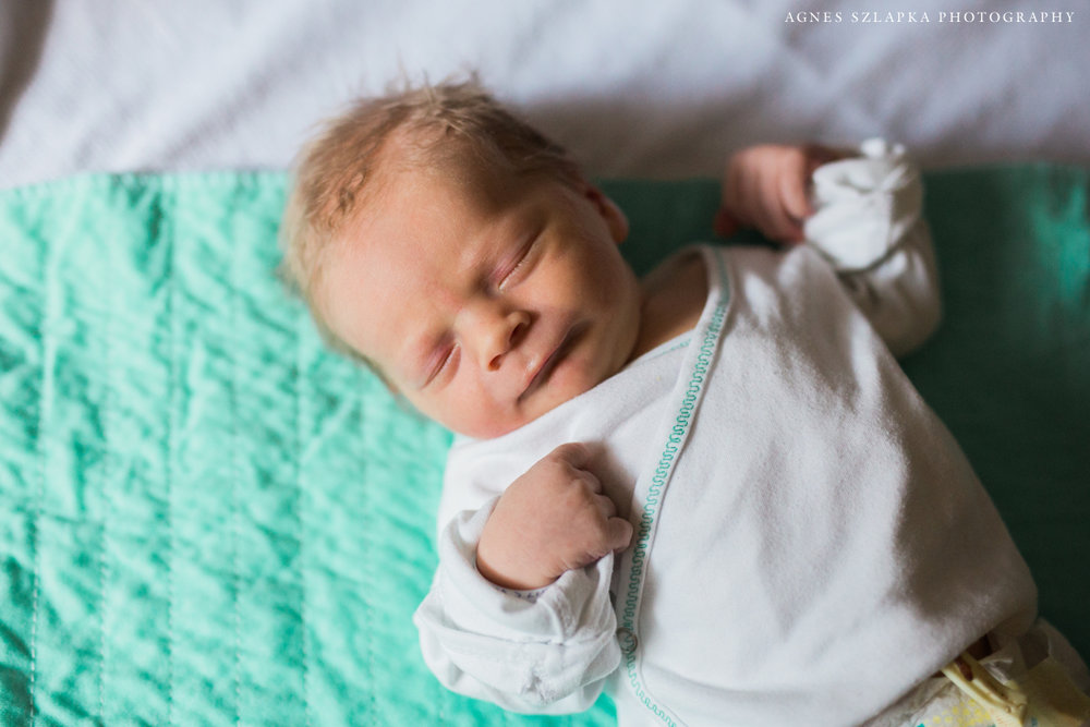 infant baby boy sleeping on hospital bed | cleveland, ohio fresh 48 photos