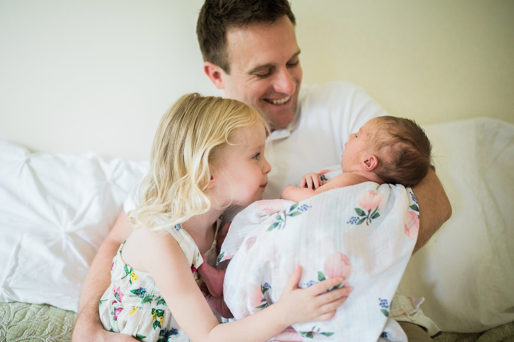father with two little baby girls | chagrin falls baby photographer