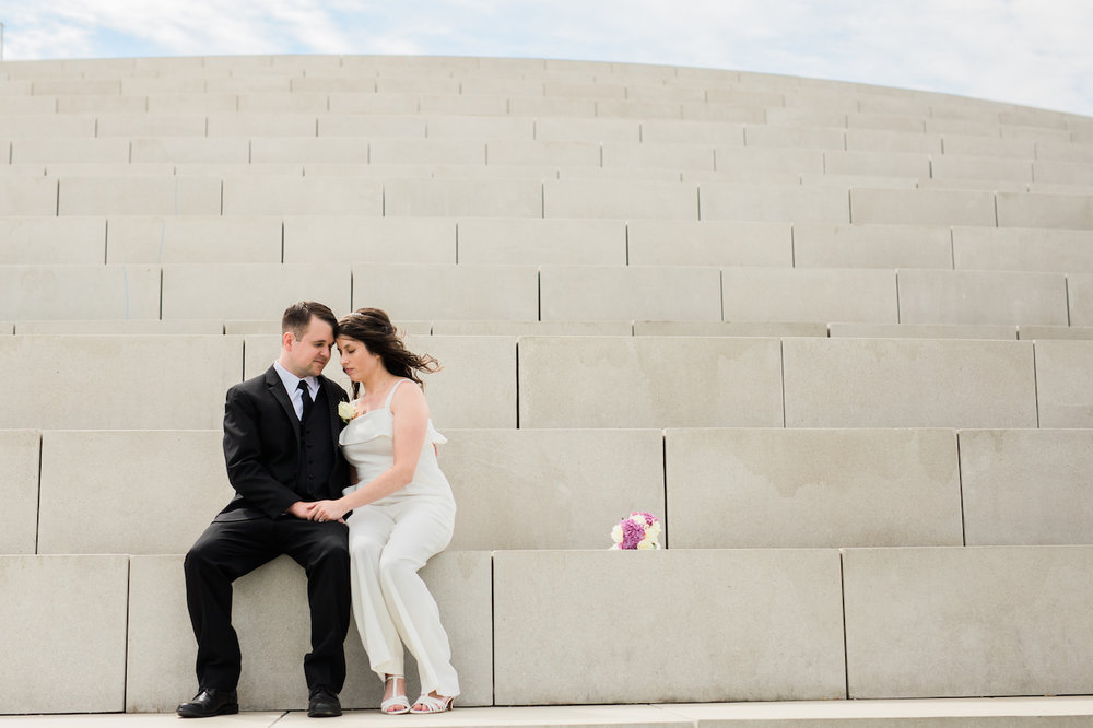 newly wed couple on solstice steps in lakewood | cleveland, ohio wedding photos