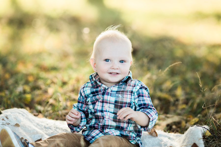 one year old boy wearing plaid shirt | cleveland, OH family photographer