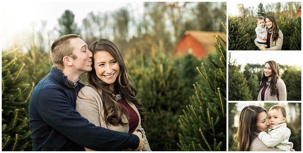 mom kissing little son on cheek at sugar pines farm | cleveland, OH family photography