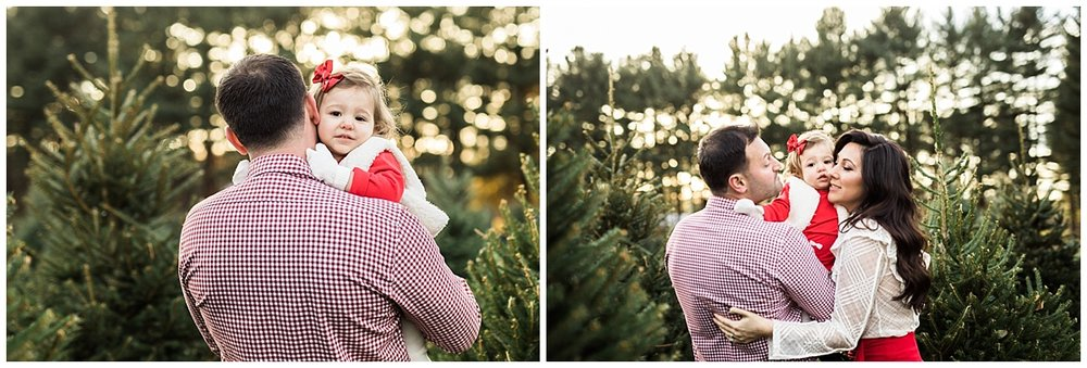 parents with little girl  at christmas tree farm | cleveland, OH photographer