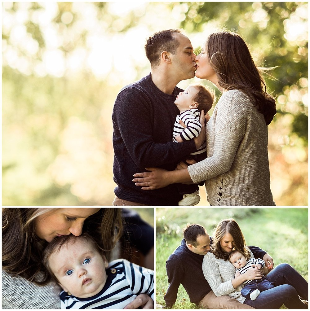 parents kissing and baby boy looking up | cleveland, ohio newborn photographer