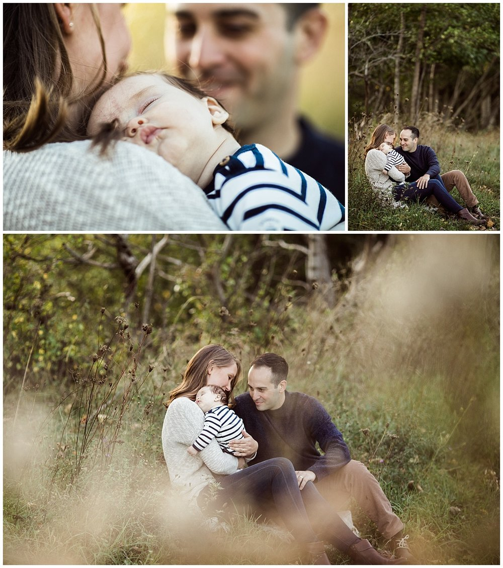 family of three with infant baby boy sitting on grass | cleveland OH baby photographer