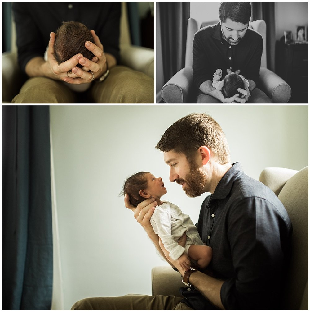 dad and baby boy son sitting on chair | cleveland, OH lifestyle newborn photographer