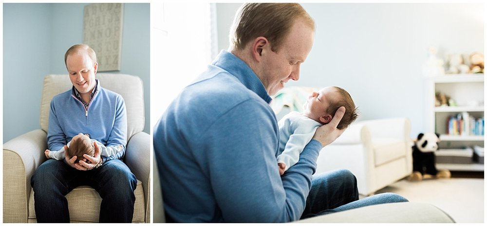 dad holding infant son in arms in shaker heights | cleveland, OH newborn photos