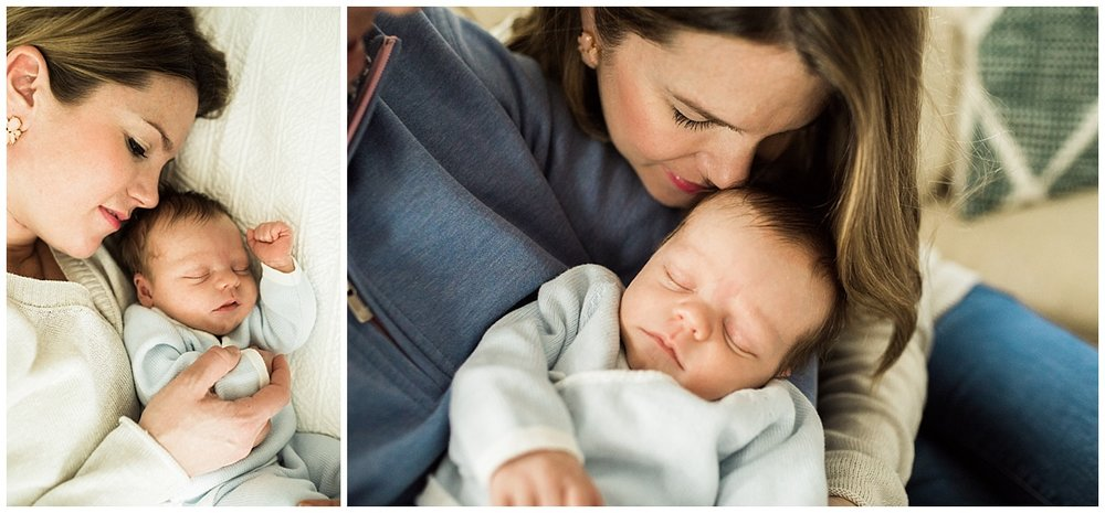 mom lovingly embracing baby boy in shaker heights | cleveland, OH newborn photography
