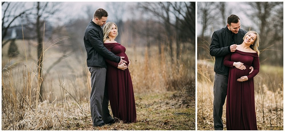 husband and pregnant wife in the park of beachwood | cleveland, OH maternity photos