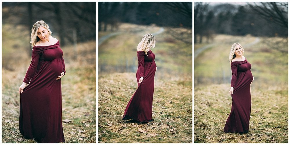 blonde pregnant woman in red long dress dancing | cleveland, OH maternity photographer