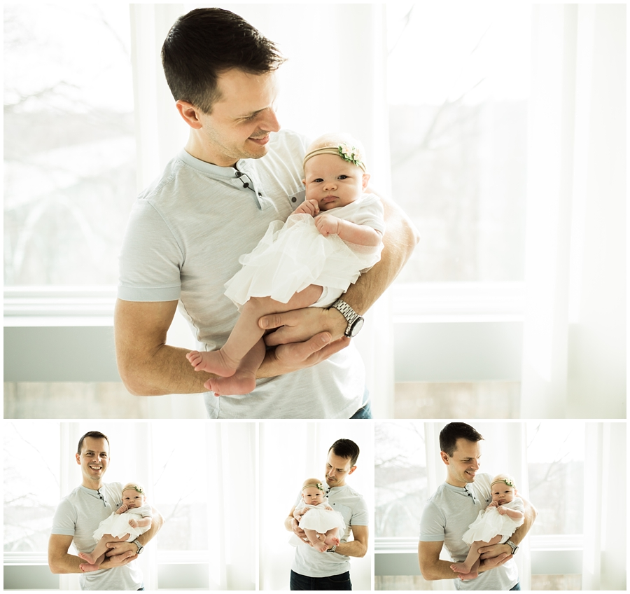 father and little baby daughter in white skirt | cleveland, ohio lifestyle newborn photography