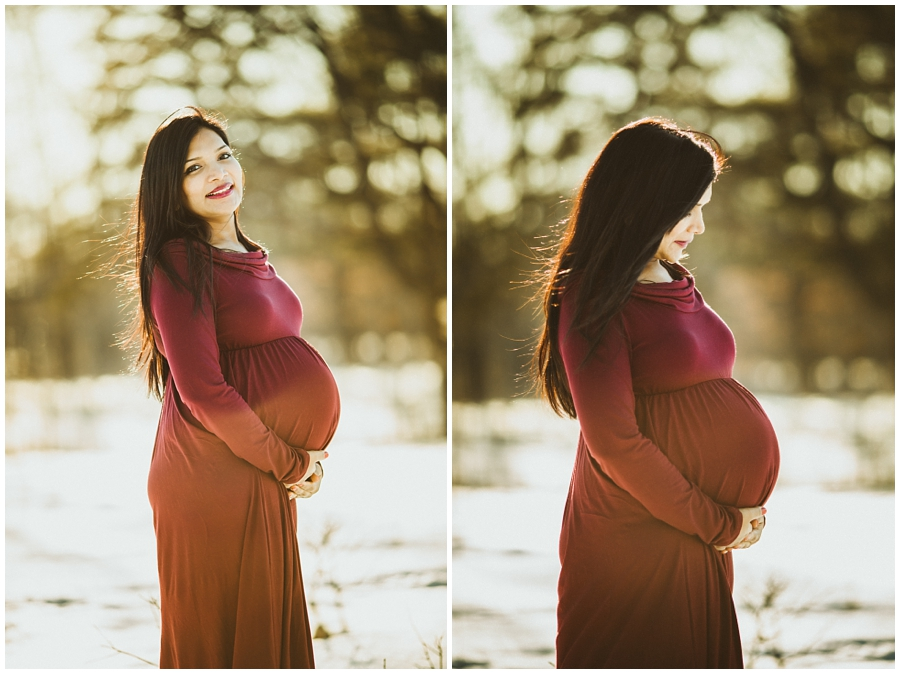 cleveland maternity photographer | pregnant woman in snow