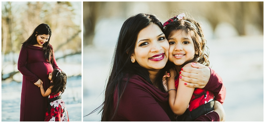 cleveland maternity photographer | pregnant mom with little daughter