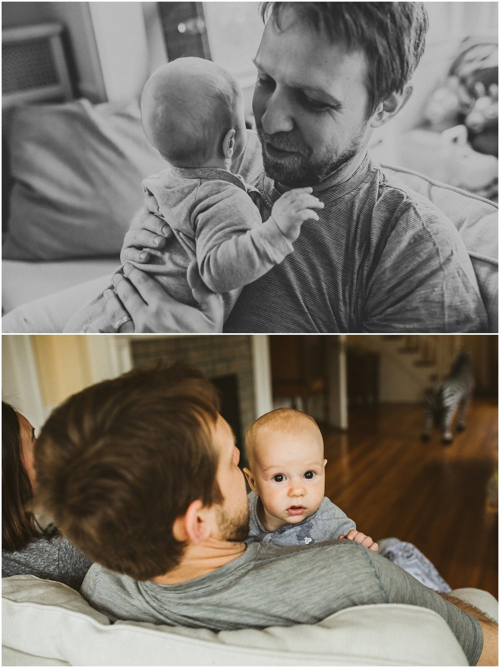 father holding baby son in arm on couch | cleveland, OH newborn photographer