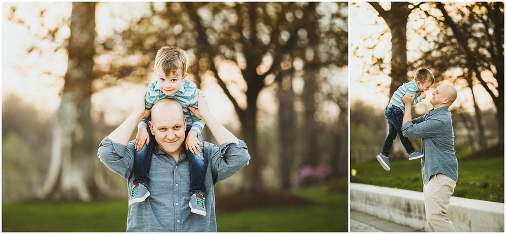 dad and preschooler son goofing around | cleveland, OH pregnancy photography