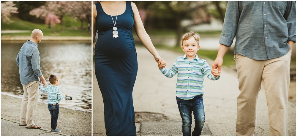 family walking around the lake | cleveland, OH maternity photographer