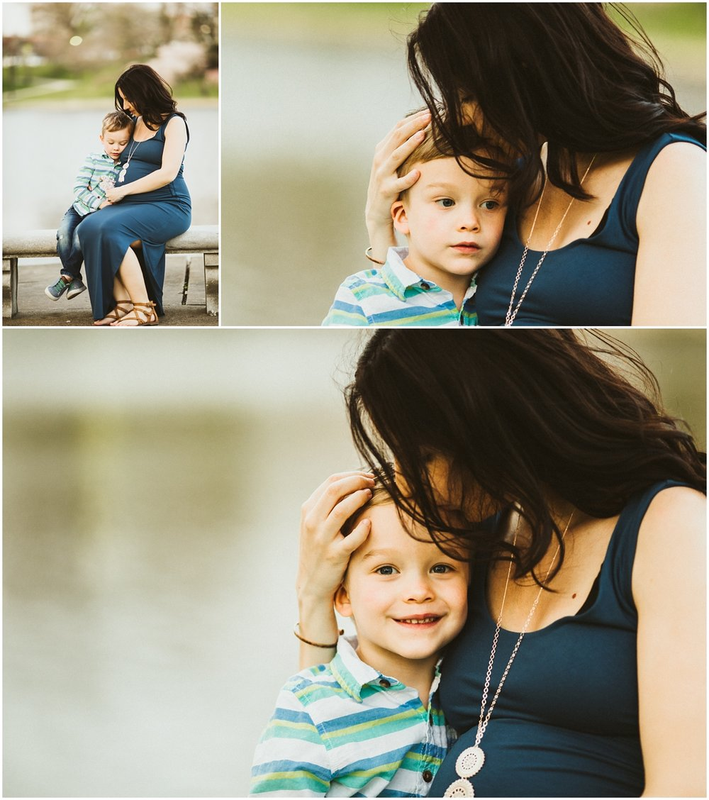 mom hugging three year old son closely | cleveland, OH maternity photographer