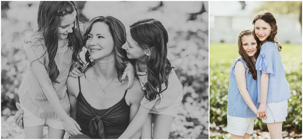 mom with two daughters dressed in blue | cleveland, family photographer