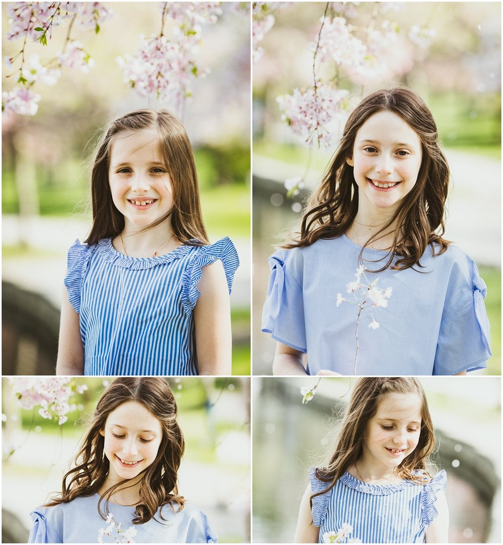 sisters with brown long hair wearing blue tops | cleveland, oh family photographer