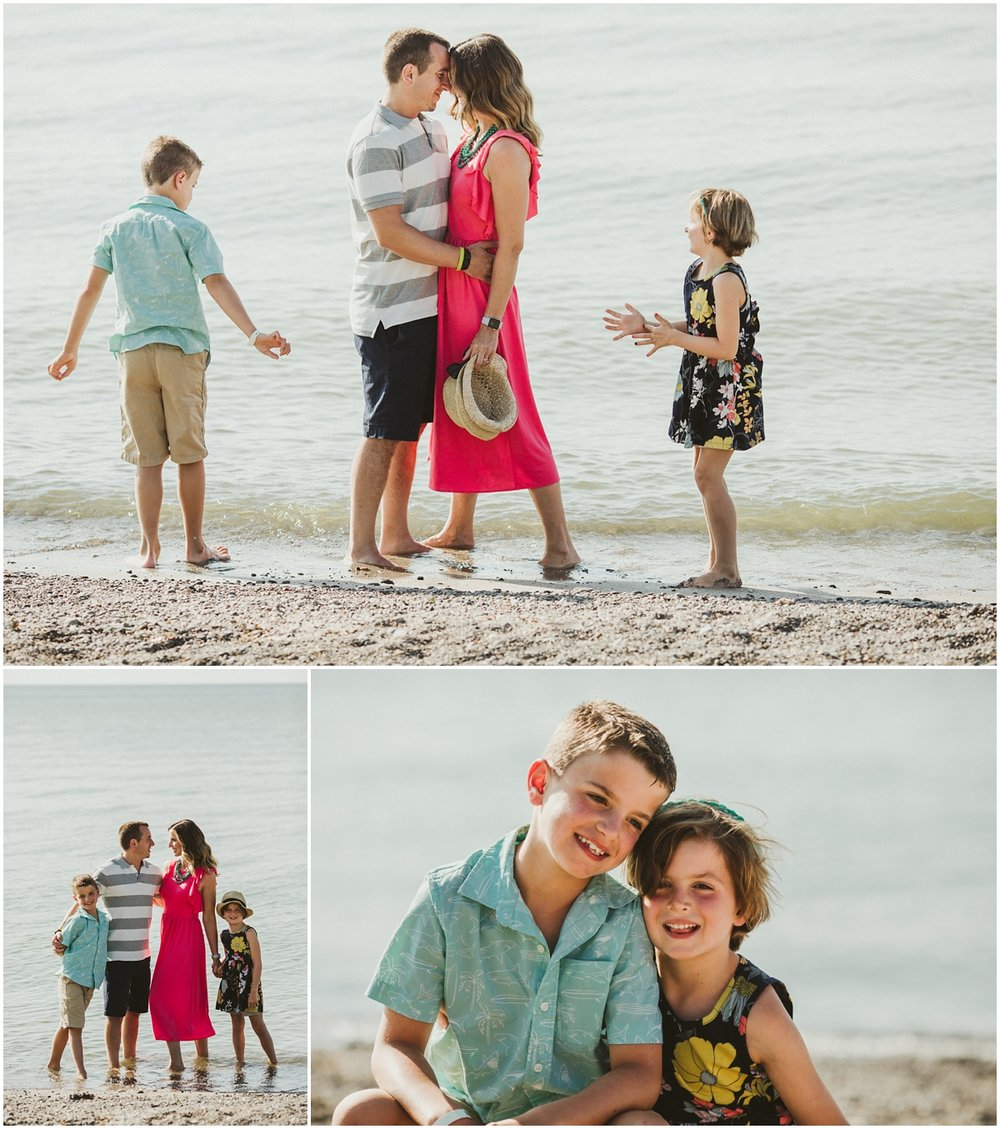 family of four on lake Erie  | cleveland OH beach photographer