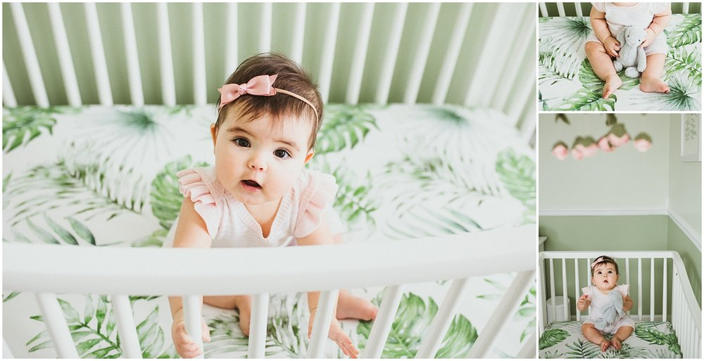 six month old baby in crib sitting | cleveland OH family photographer