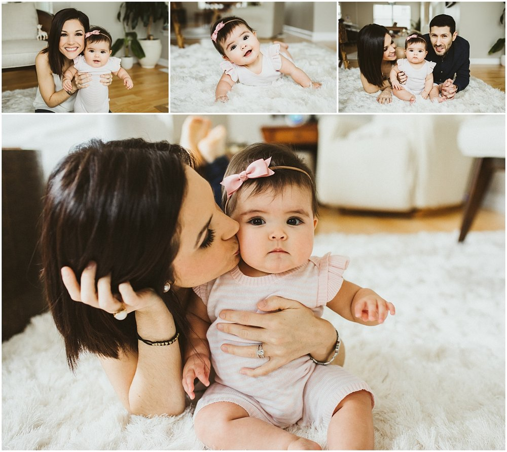 mother kissing little baby on cheek | cleveland OH family photography