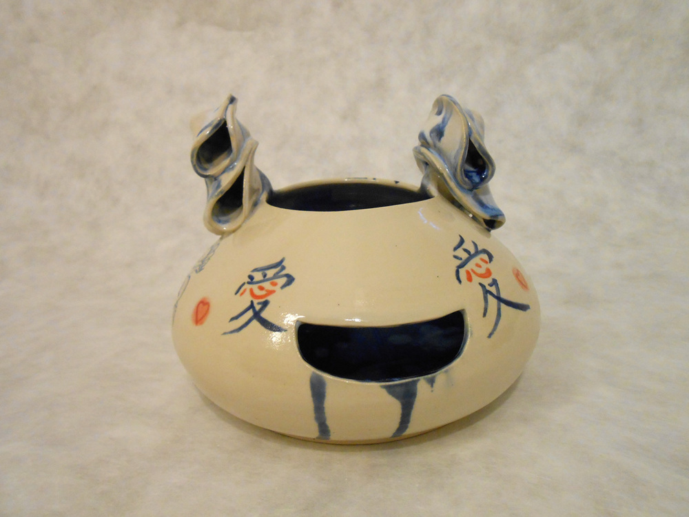 "Jiha Moon  Love Dragon Face Jug , 2014 Earthenware ceramic 6.5"" x 8"" x 8"""