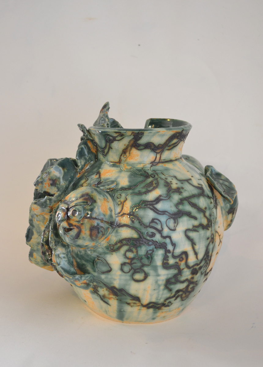 "Jiha Moon  Broken Peony , 2013 Earthenware ceramic 9"" x 9"" x 8"""