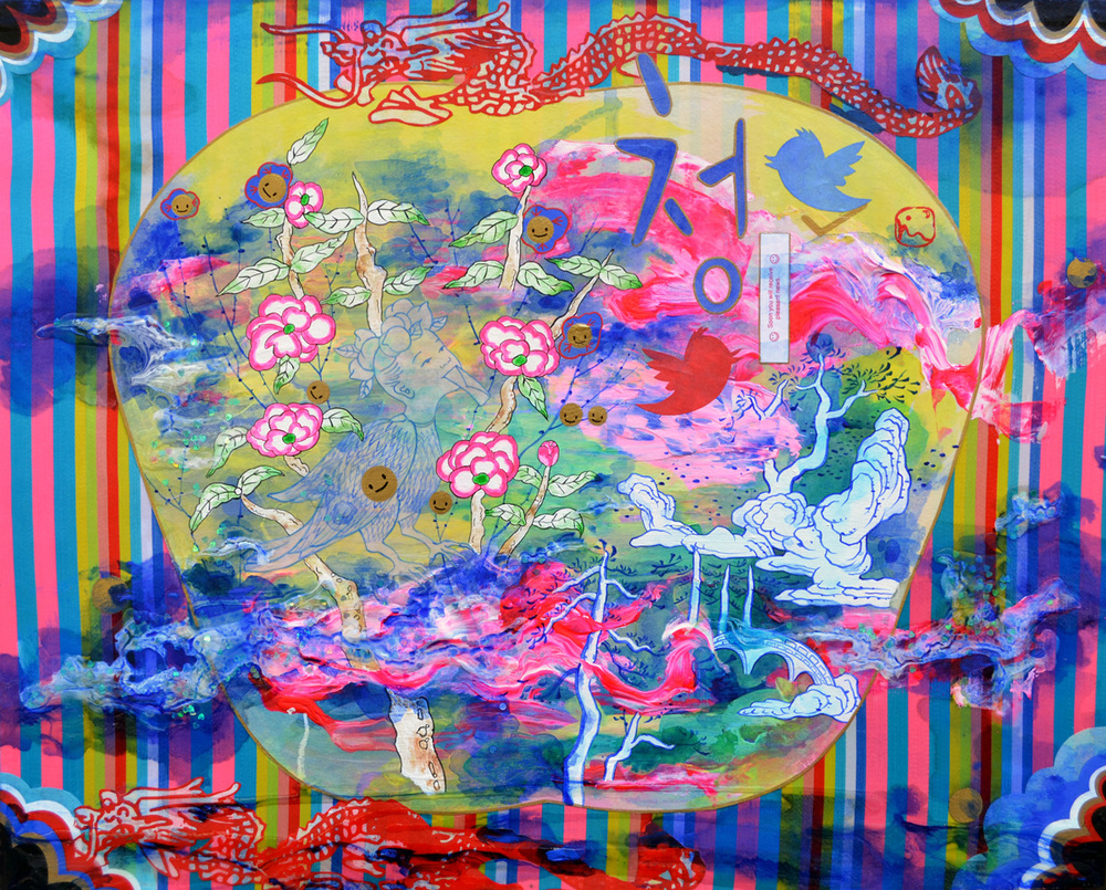"Jiha Moon  Chung , 2013 Ink, acrylic, digitally printed fortune cookie inserts, glitter on Hanji paper on fabric mounted onto wood panel 16.5"" x 20"""