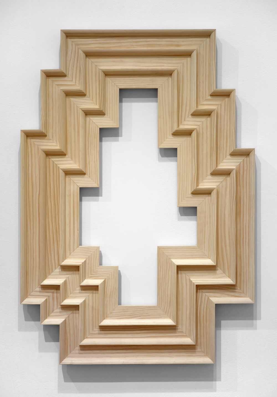 "Seth Adelsberger  Untitled (Stella Artois 3) , 2014 Pine 43"" x 30"""