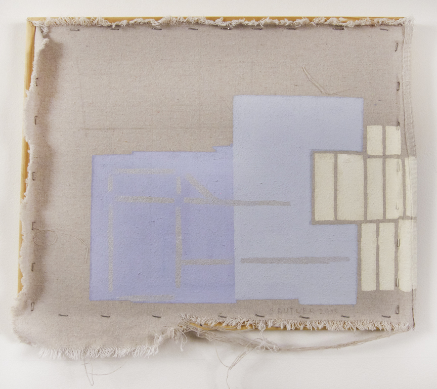 "Sharon Butler  Blue Fences , 2013 Pigment, silica binder, pencil, wood stretcher, staples, linen tarp 16"" x 18"""