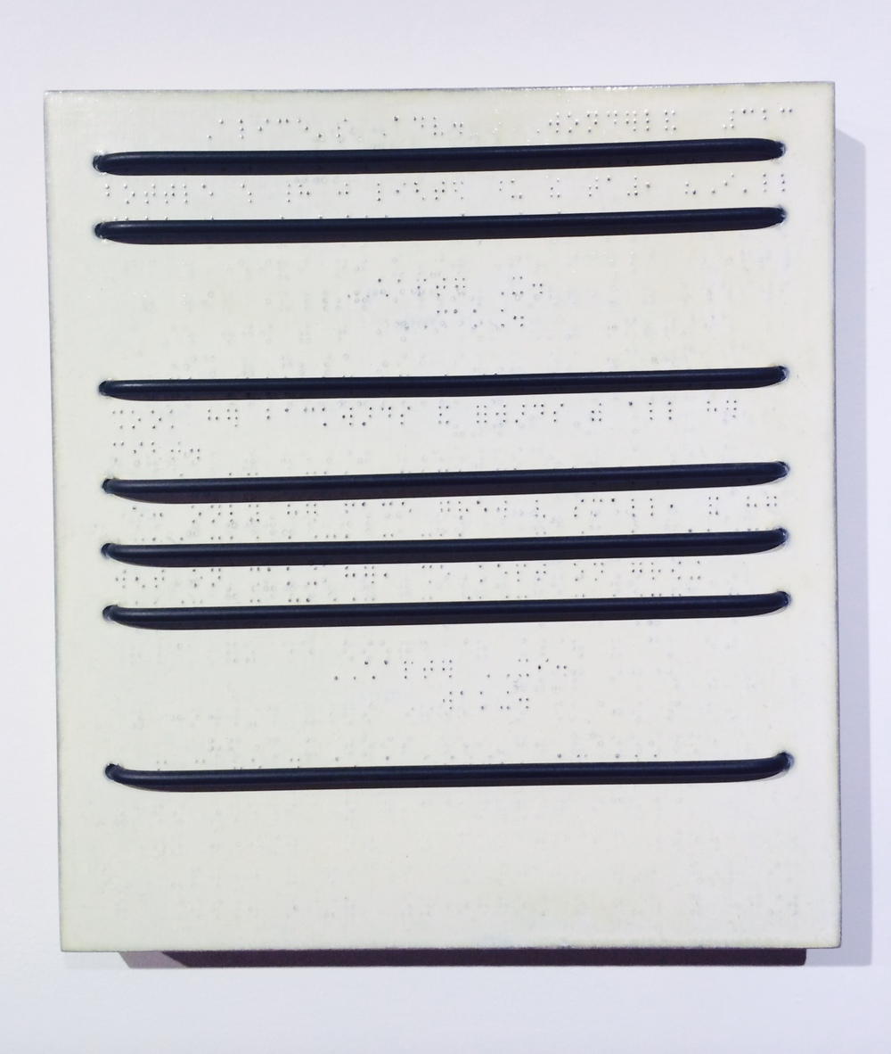 "Christopher French  Shaking/Waking Hidden/Seen , 1994 Rubber, acrylic, braille paper on galvanized steel on wooden panel 11"" x 10"" x 1"""