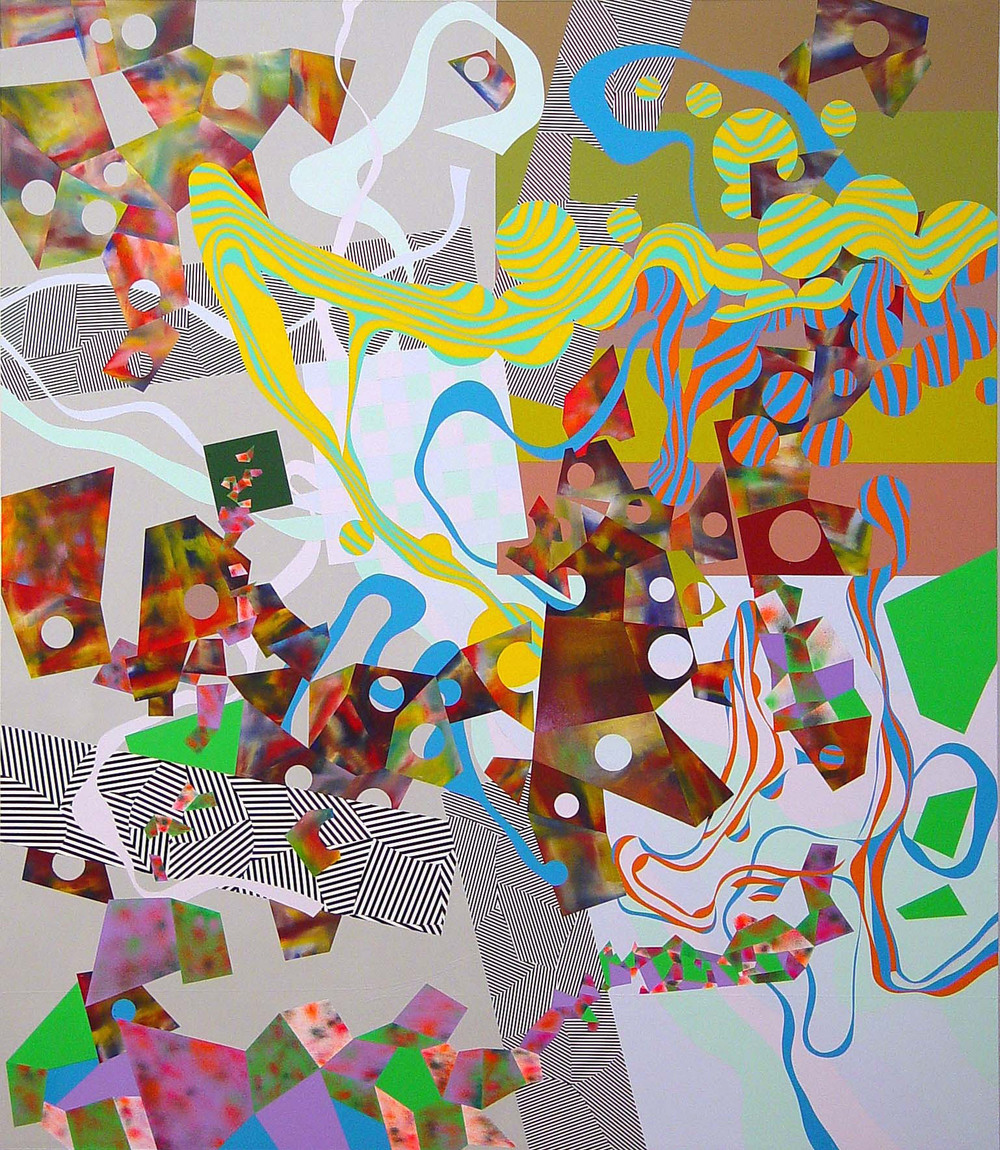 "Eric Hibit  Untitled #4 , 2003 Acrylic, spray paint on canvas 94"" x 71"""