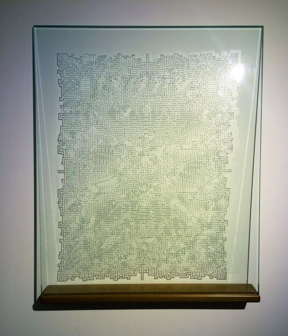 "Jason Hughes  Glass Labyrinth , 2006 Laser-etched glass, wood 24.5"" x 20"" x 2.5"""
