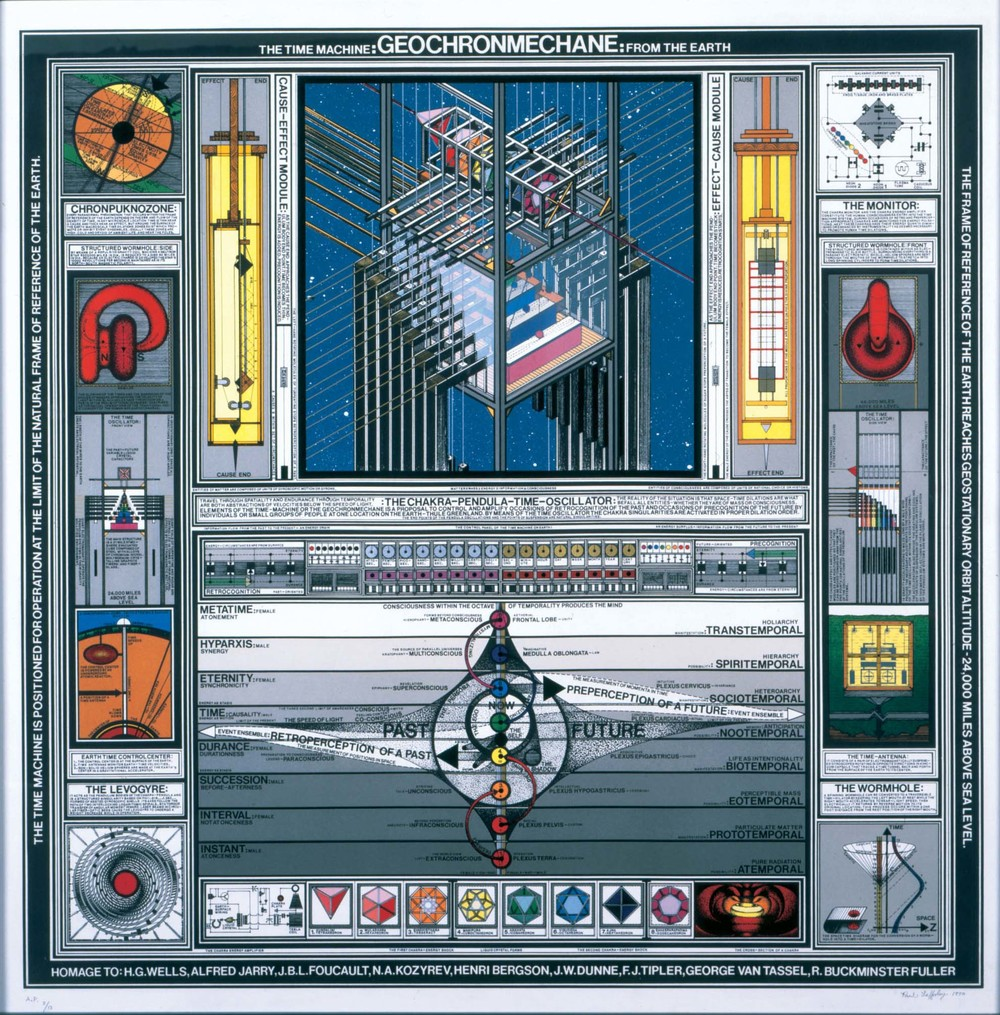 "Paul Laffoley (1940 – 2015)  Geochronmechane , 1990 Serigraph on rag paper Ed. 27/75 28"" x 28"" unframed 39"" x 39"" framed Courtesy of the Estate of Paul Laffoley"