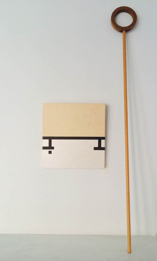 "J.W. Mahoney (Anne Stillwood)  Untitled , 1991 Acrylic, Japanese paper collage on panel, wood sceptre 10"" x 10"" and 36"" x 3"" x .75"""