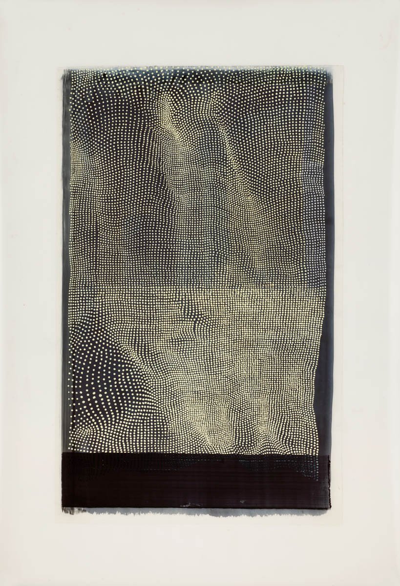 "Linn Meyers  Untitled , 2015 Acrylic ink on Mylar 19"" x 13.5"" unframed 24.5"" x 18.75"" framed"