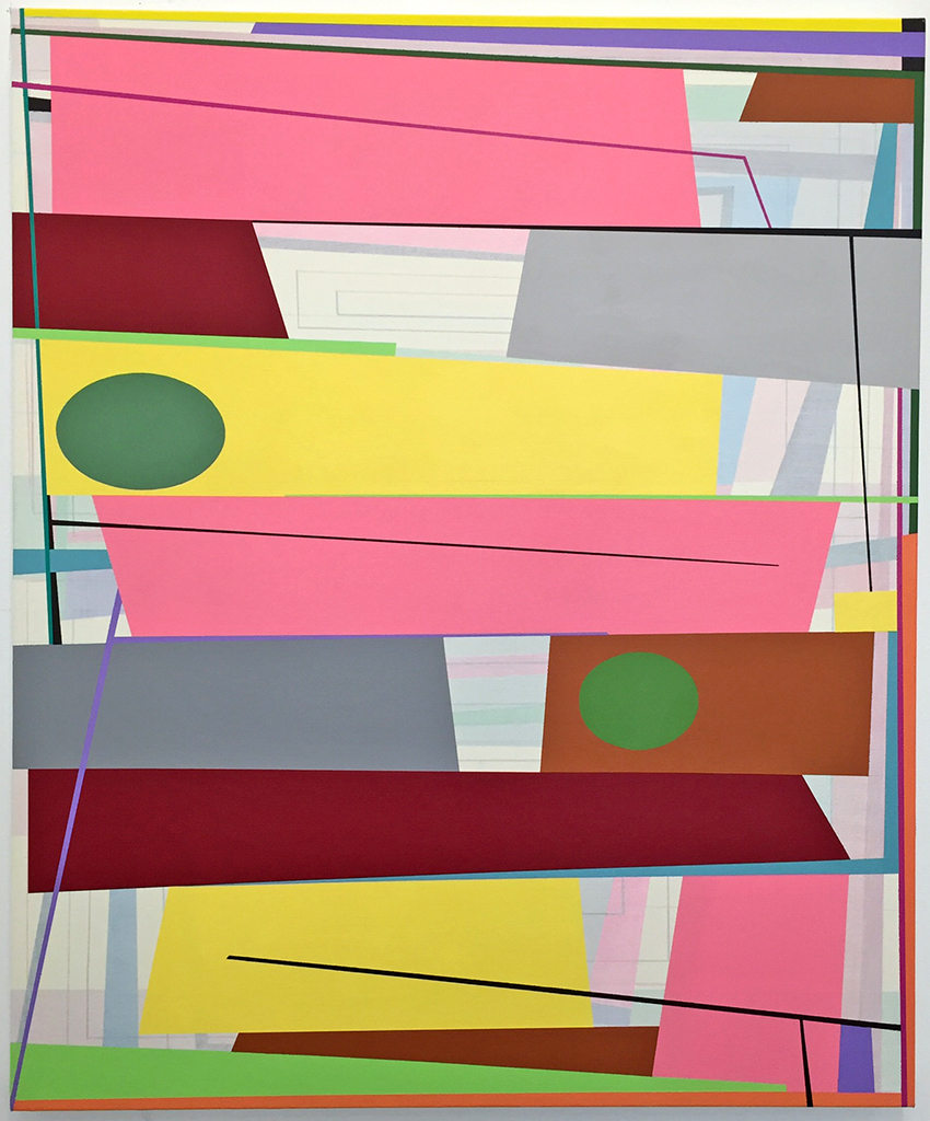 "Gary Petersen  Pink Drift,  2015 Acrylic on canvas 36"" x 30"" Courtesy of the Artist"