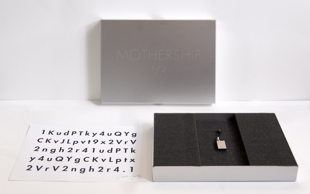 Jonathan Monaghan  Mothership , 2013 CGI animated HD film, 15 min loop, edition of 3 with laser-etched aluminum case, USB, Keidom ID  Music by Evan Samek