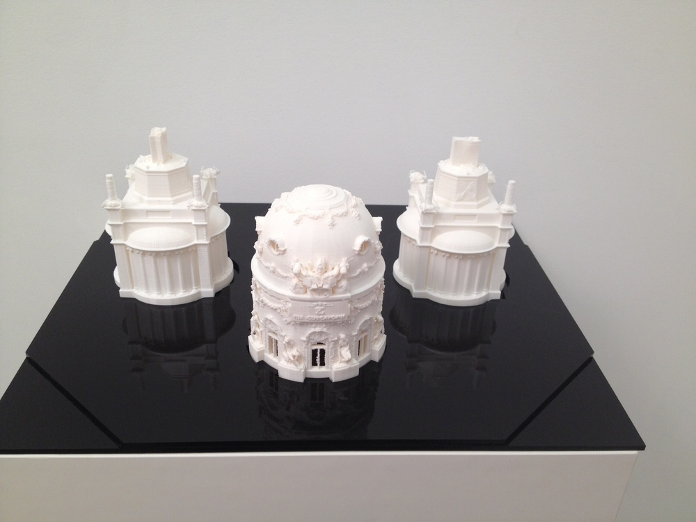 Jonathan Monaghan  The Checkpoint Domes,  2014 12 in. x 10 in. x 8 in. 3D print, laser-cut acrylic edition of 2